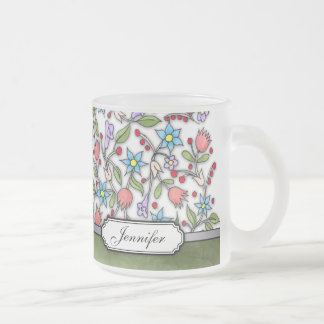 Girly Floral Pattern Frosted Glass Mug