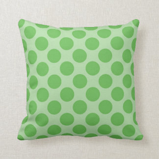 Girly Fun Cute Green Polka Dots Pattern on Green Throw Cushion