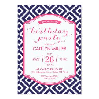Girly Ikat Diamonds Birthday Party Invitation