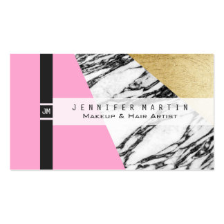 Girly Modern Pink Gold and Marble Triangular Cut Pack Of Standard Business Cards
