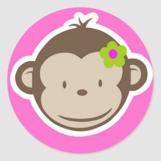 Girly Monkey Round Sticker