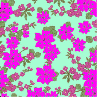 Girly Neon Pink Green Polka Dots Floral Pattern Standing Photo Sculpture