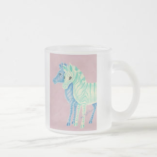 Girly Pastel Zebras With Blue Stripes Frosted Glass Mug