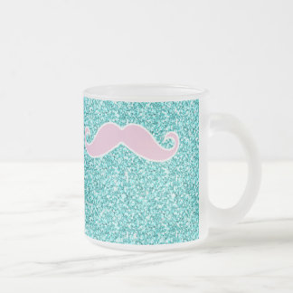 GIRLY PINK MUSTACHE ON TEAL GLITTER EFFECT FROSTED GLASS MUG