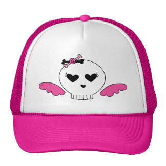 Girly Skull With Wings Cap