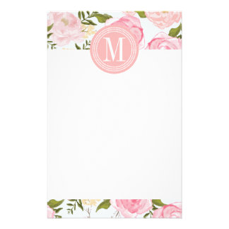 Girly Vintage Floral Pink Roses Peony Personalized Custom Stationery