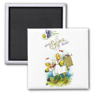 Glad Easter Wishes Square Magnet