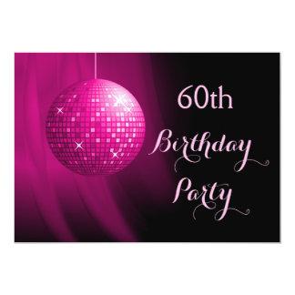 Glamorous 60th Birthday Hot Pink Party Disco Ball 13 Cm X 18 Cm Invitation Card