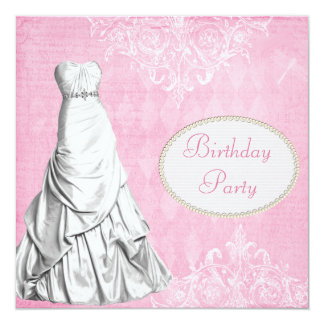 Glamorous Gown Vintage Shabby Chic Birthday Party 13 Cm X 13 Cm Square Invitation Card