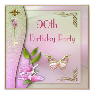 Glamorous Key, Magnolia & Butterfly 90th Birthday 13 Cm X 13 Cm Square Invitation Card