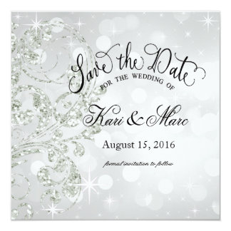 Glamour Glitter Luxe Save the Date | silver ice 13 Cm X 13 Cm Square Invitation Card