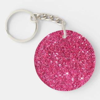 Glamour Hot Pink Glitter Double-Sided Round Acrylic Key Ring