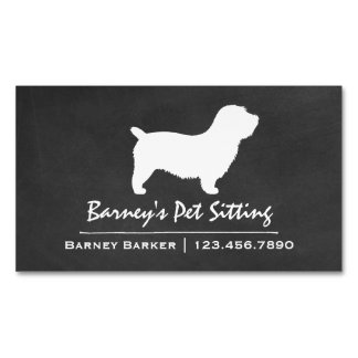 Glen of Imaal Terrier Silhouette Chalkboard Style Magnetic Business Cards
