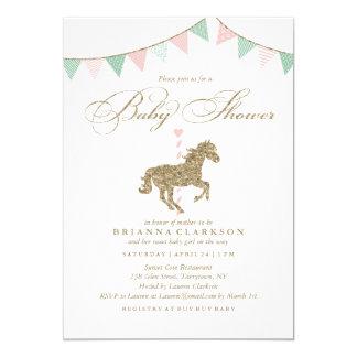 Glitter Carousel Horse | Baby Shower Invitation
