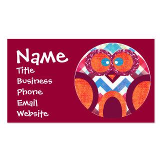 Glitter Owl Chevron Business Cards