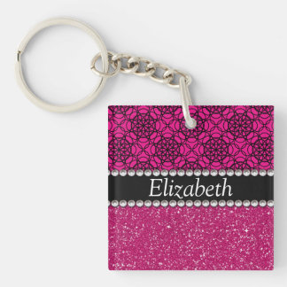 Glitter Pink and Black Pern Rhinestones Double-Sided Square Acrylic Key Ring
