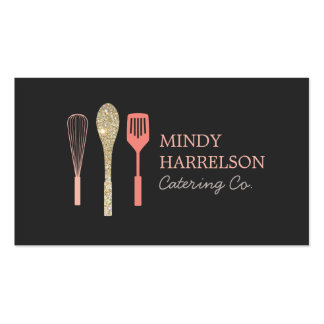 Glitter Spoon Whisk Spatula Bakery Catering Logo Pack Of Standard Business Cards