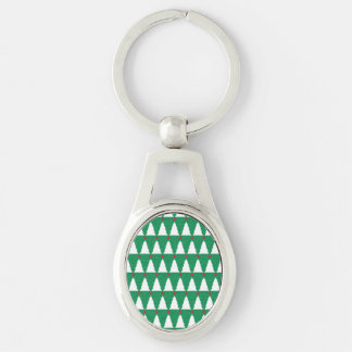 Glittery Christmas Trees Silver-Colored Oval Key Ring