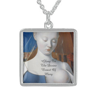 Glory To The Divine Breast Of Mary Square Pendant Necklace