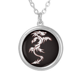 Glowing dragon round pendant necklace