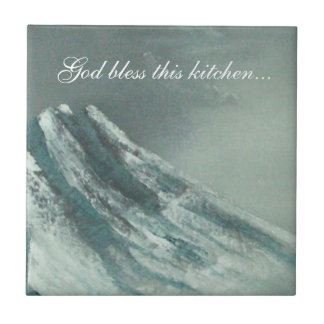 """God bless this kitchen..."" backsplash tile"