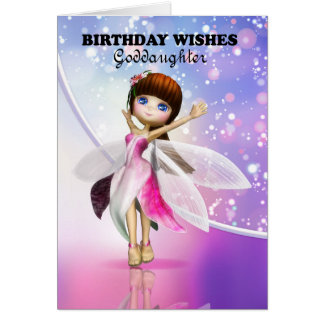 Goddaughter, Happy Birthday cute fairy dancing Greeting Card