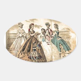 Godey's Ladies Book Victorian Fashion Plate Weddin Oval Sticker