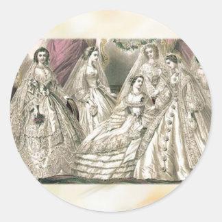 Godey's Ladies Book Victorian Fashion Plate Weddin Round Sticker