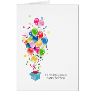 Godfather Birthday Cards, Colorful Balloons Greeting Card