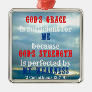 God's grace is sufficient Silver-Colored square decoration