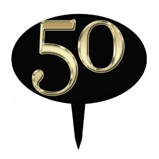 Gold 50 Fifty Cake Pick