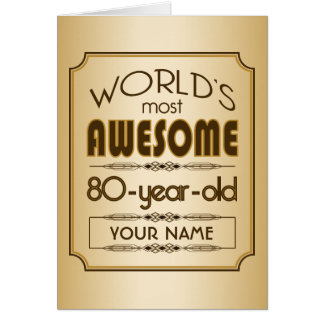 Gold 80th Birthday Celebration World Best Fabulous Greeting Card