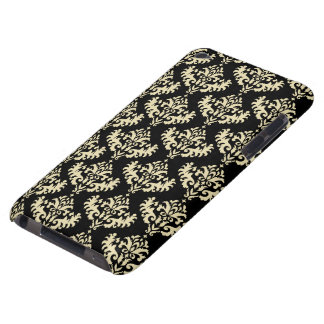 Gold and Black Damask Pattern Barely There iPod Cases