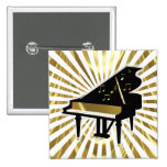 Gold and Black Grand Piano Music Notes 15 Cm Square Badge