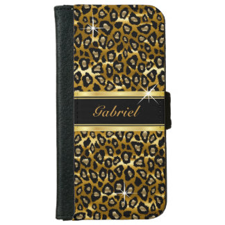 Gold and Black Leopard Animal Print iPhone 6 Wallet Case