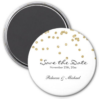 Gold and White Polka Dots Glitters Save the Date 7.5 Cm Round Magnet