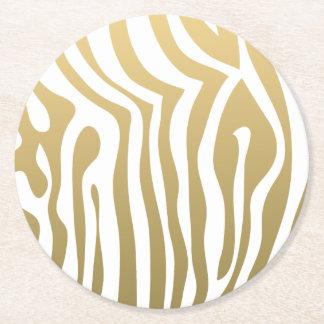 Gold and White Zebra Stripes Pattern Round Paper Coaster