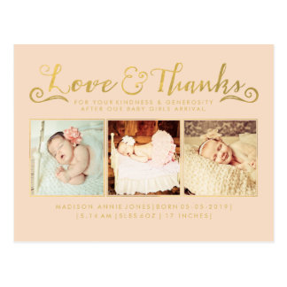 Gold Baby Birth Announcement Sip & See Postcard