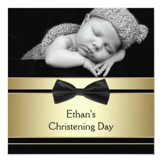 Gold Black Bow Tie Baby Boy Photo Christening 13 Cm X 13 Cm Square Invitation Card