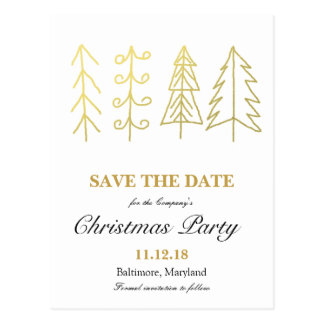 Gold Christmas Tree Christmas Party Save The Date Postcard