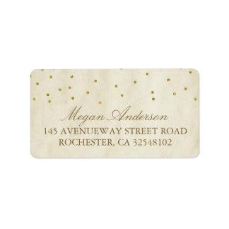 Gold Confetti Vintage Wedding Address Label