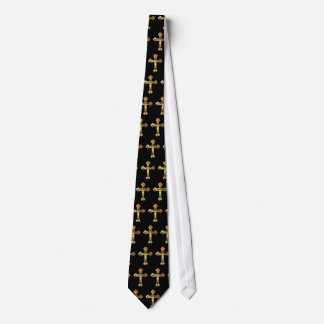 Gold Crucifix Tie, repeated design on black bkgd. Tie