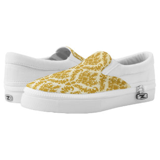 Gold damask printed shoes