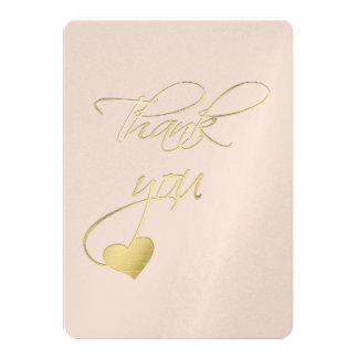 Gold Embossed Effect Calligraphy Wedding Thank You 13 Cm X 18 Cm Invitation Card