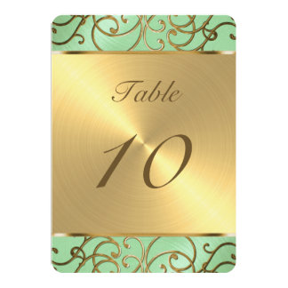 Gold Filigree Swirls Table Number 13 Cm X 18 Cm Invitation Card