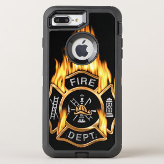 Gold Fire Department Flaming Badge OtterBox Defender iPhone 7 Plus Case