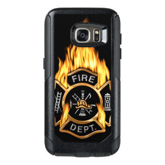 Gold Fire Department Flaming Badge OtterBox Samsung Galaxy S7 Case