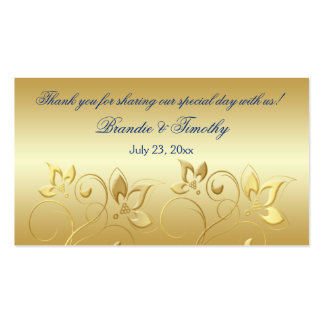 Gold Floral and Royal Blue Wedding Favor Tag Pack Of Standard Business Cards