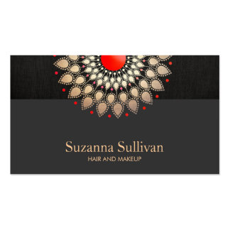 Gold Foil and Red Black Linen Look Cosmetology Pack Of Standard Business Cards