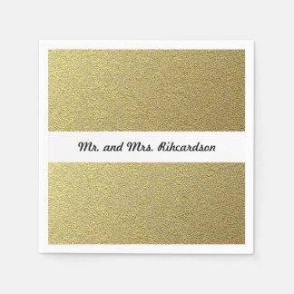 Gold Foil Effect Wedding Disposable Serviette